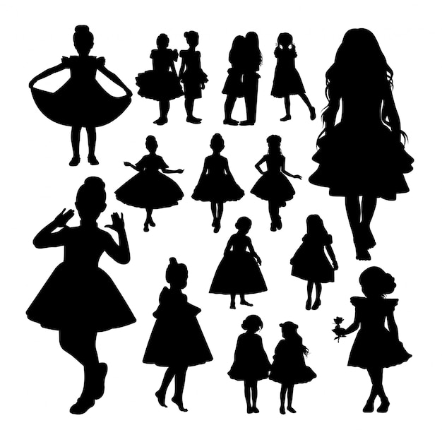 Little girl silhouettes. Premium Vector