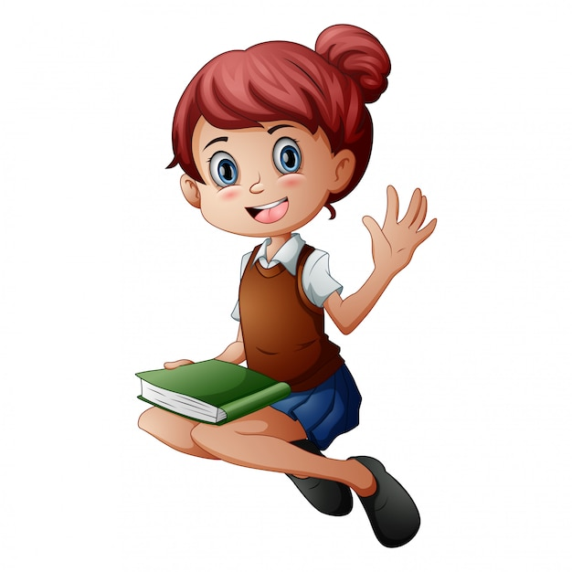 Little girl sitting with holding a book Premium Vector