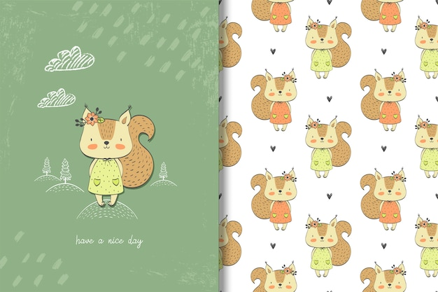 Little girl squirrel card and seamless pattern Premium Vector