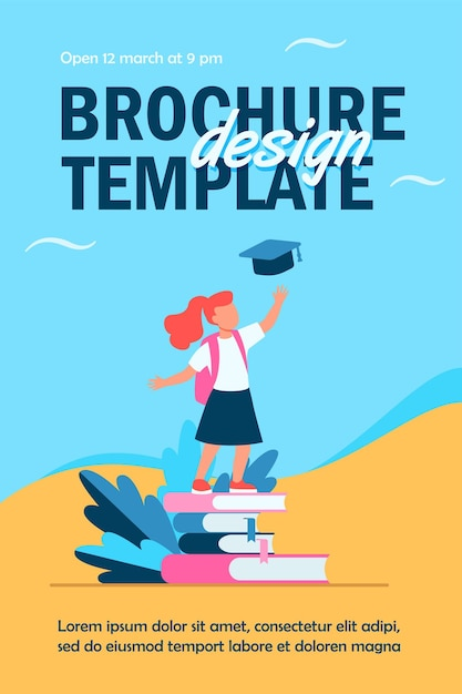 Little girl standing on pile of books flyer template Free Vector