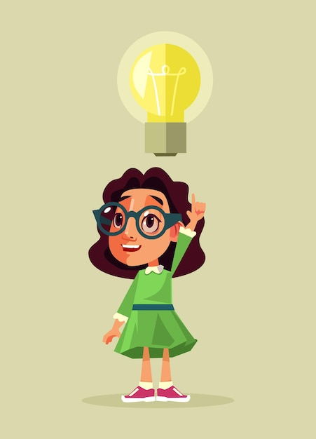 Маленькая девочка студент характер с хорошей идеей. мультфильм Premium векторы