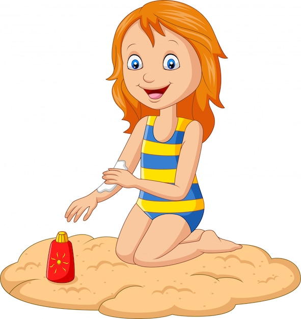 Little girl in a swimsuit applying sunblock lotion on her arm Premium Vector