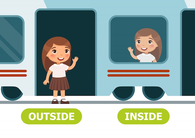 Little girl on the train and outside Premium Vector