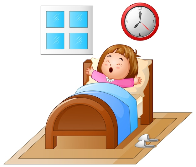 Little girl waking up in a bed and yawning Premium Vector