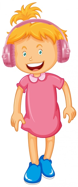 Little girl wearing headphone Free Vector