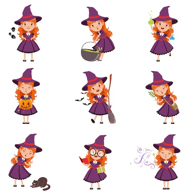 Little girl witch set wearing purple dress and hat Premium Vector