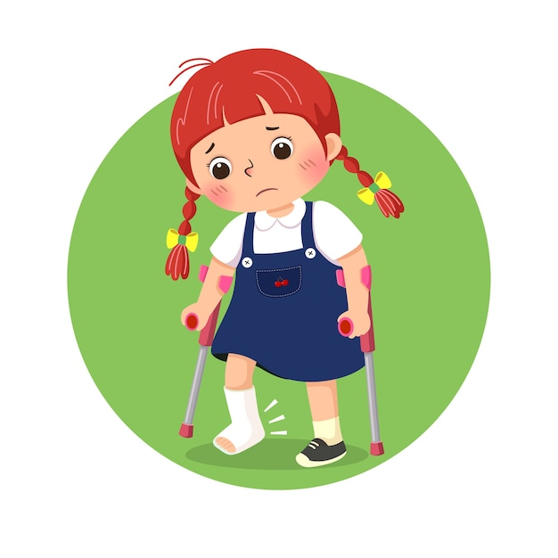 Little girl with broken leg bandage cast walking using crutches Premium Vector