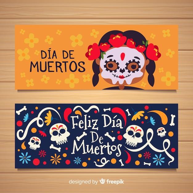 Little girl with corpse paint día de muertos banners Free Vector