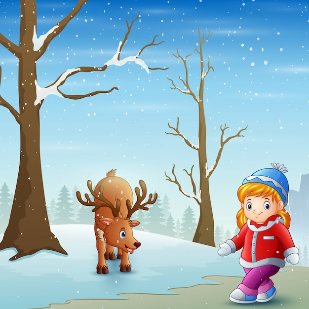 Little girl with deer on the snow field Premium Vector