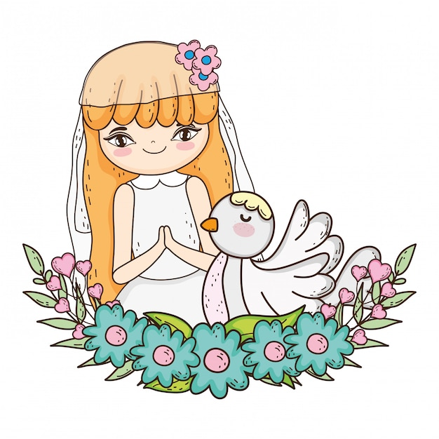 Little girl with dove in first communion celebration Premium Vector