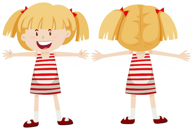 little girl with front and back view vector free download