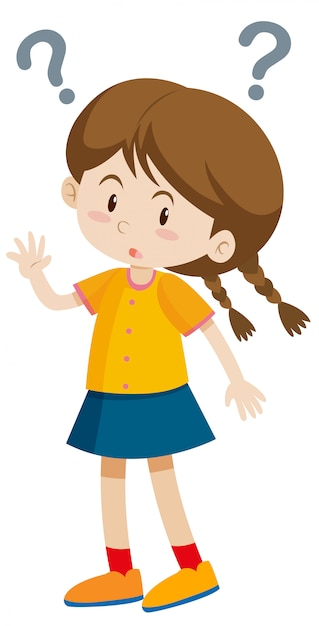 Little girl with question marks Free Vector