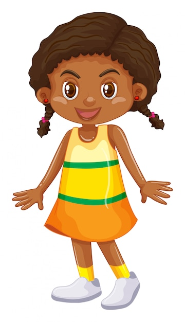 Little girl in yellow skirt Free Vector