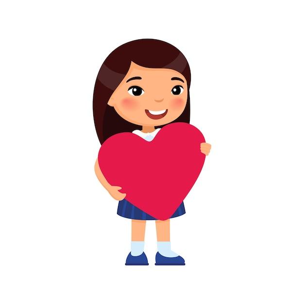 Маленькая подруга держит иллюстрацию поздравительной открытки в форме сердца. празднование дня святого валентина. азиатский улыбающийся детский персонаж. 14 февраля праздник изолированный элемент дизайна Бесплатные векторы