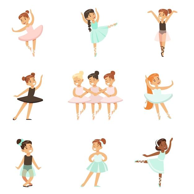 Little girls dancing ballet in classic dance class, future professional ballerina dancers Premium Vector
