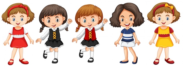 Little girls in different costumes Free Vector