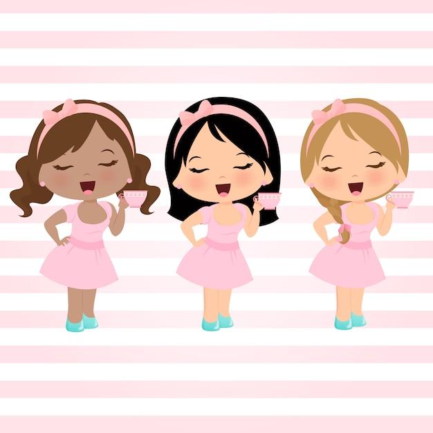 Little girls set Premium Vector