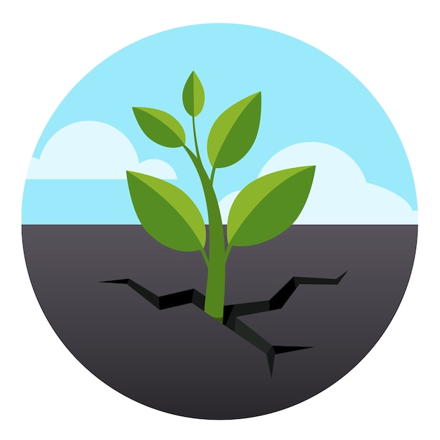 Little green sprout grows through asphalt ground Free Vector