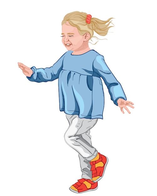 ブルーのブラウス、白いジーンズ、カラフルな靴で幸せな少女。赤いシュシュとブロンドの髪 Premiumベクター