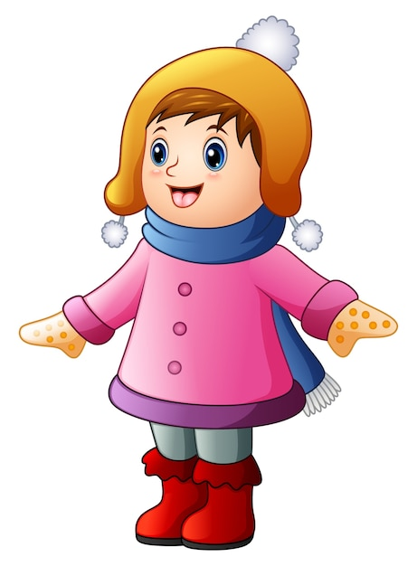 冬の服を着た少年少女 Premiumベクター