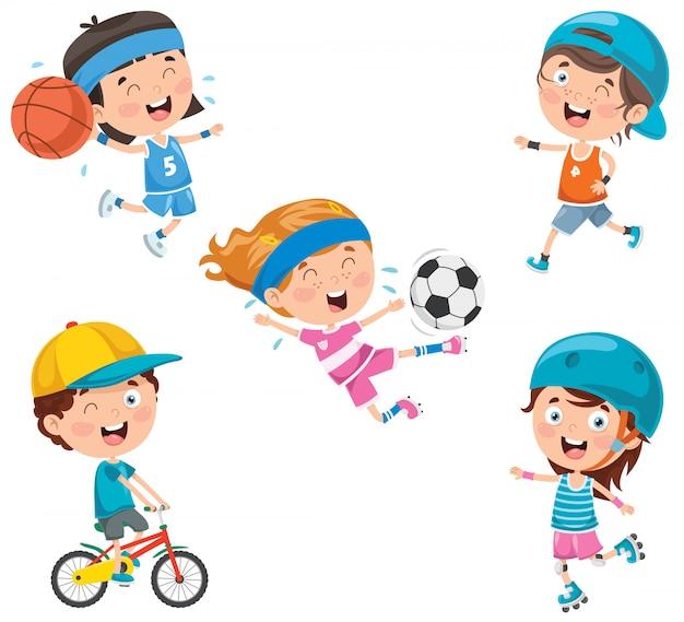 Little happy kids making sport Premium Vector