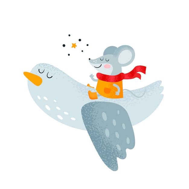 Little happy mouse and bird Premium Vector