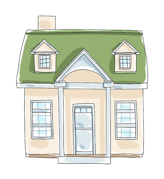 Little home tiny house cottage vintage  hand drawn vector Premium Vector