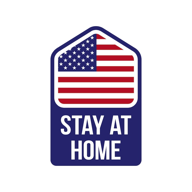 Little house with usa flag and stay at home text. covid-19 campaign. . Premium Vector