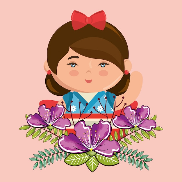 Little japanese girl kawaii with flowers character Free Vector