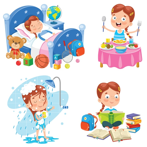 Little kid making daily routine activities Premium Vector
