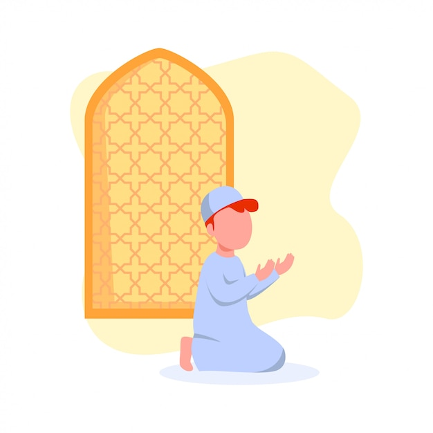 Little kid praying in mosque illustration Premium Vector