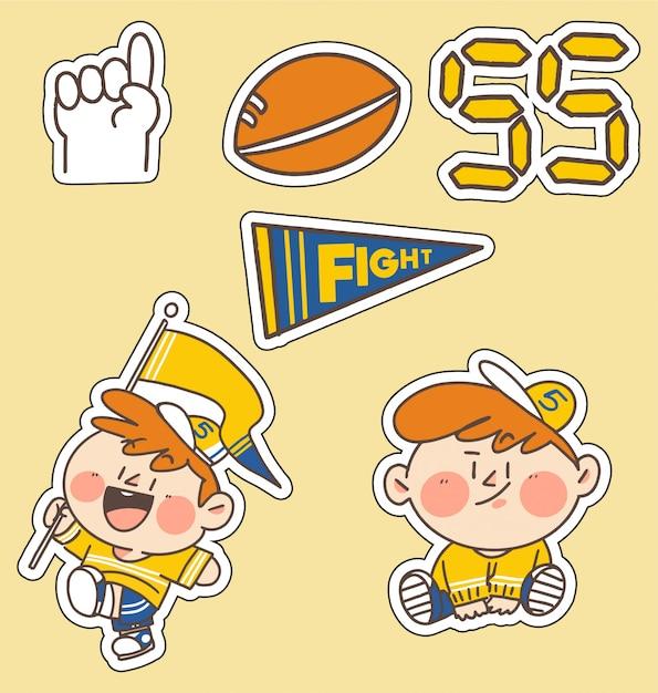 小さな子供スポーツファン落書きイラストステッカーコレクション。アプリのステッカー、印刷、プロジェクトに最適 Premiumベクター