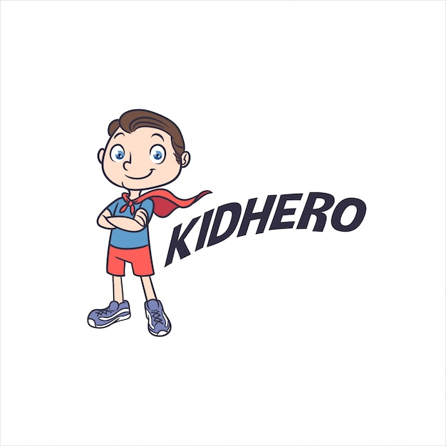 Little kid superhero mascot logo Premium Vector