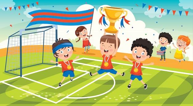 Little kids celebrating championship win Premium Vector