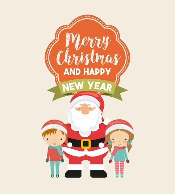 Little Kids In Christmas Celebration Premium Vector