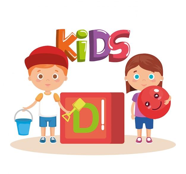 Coppia di bambini che giocano con il blocco Vettore gratuito