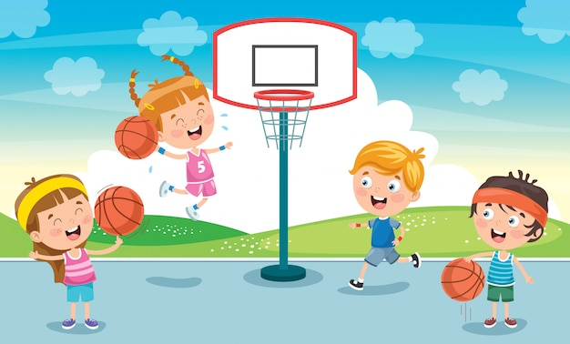 View Cartoon Kids Playing Basketball Pictures