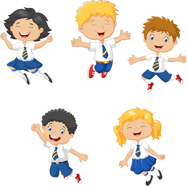 Little kids smiling and jumping together Premium Vector