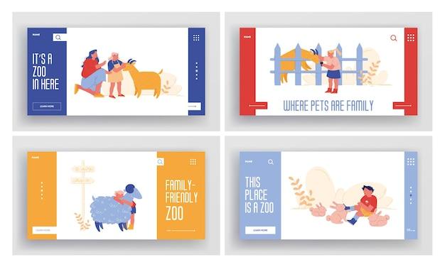 小さな子供たちは、両親のランディングページテンプレートセットを持って農業動物園を訪れます。家畜の羊、ウサギ、ヤギをかわいがる子供たちのキャラクターは、週末に時間を過ごします。漫画の人々 Premiumベクター