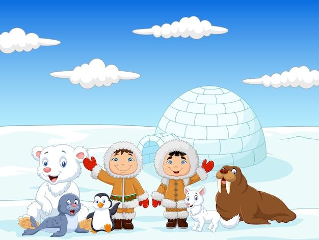 Little kids wearing traditional eskimo costume Premium Vector