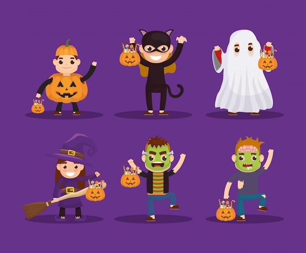 Little kids with disguise characters Free Vector