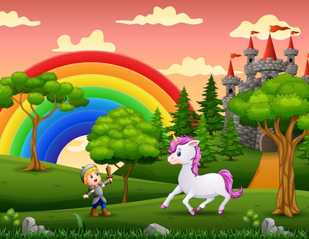 Little knight fights a unicorn in the castle yard Premium Vector