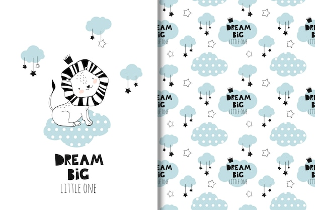 Little lion baby shower and seamless pattern Premium Vector