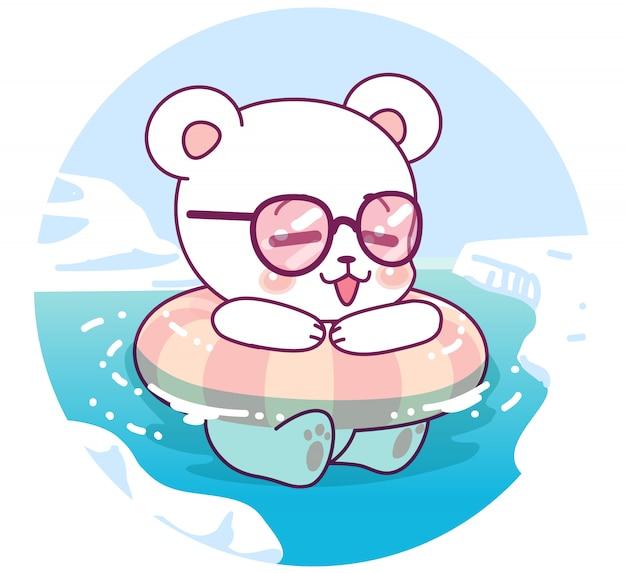 Little lovely polar bear floating on the sea Premium Vector