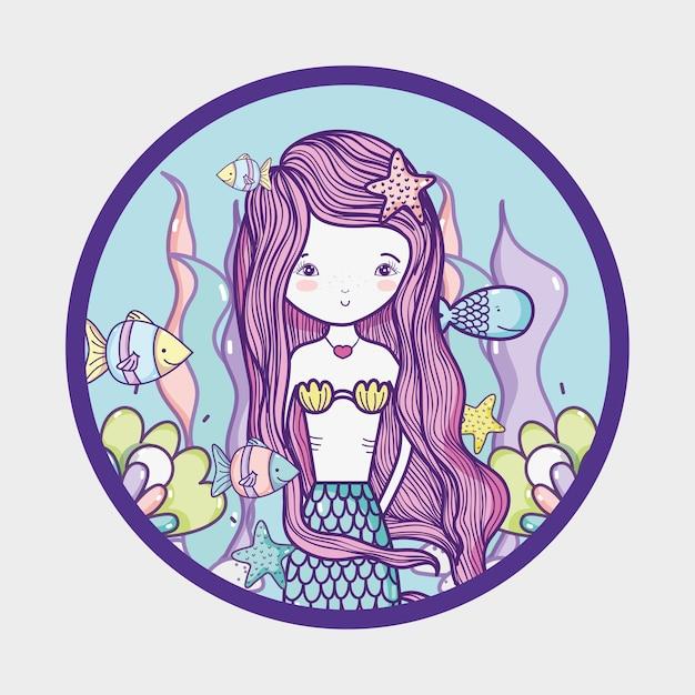Little mermaid art cartoon Premium Vector