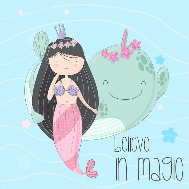 Little mermaid hand drawn illustration-vector Premium Vector