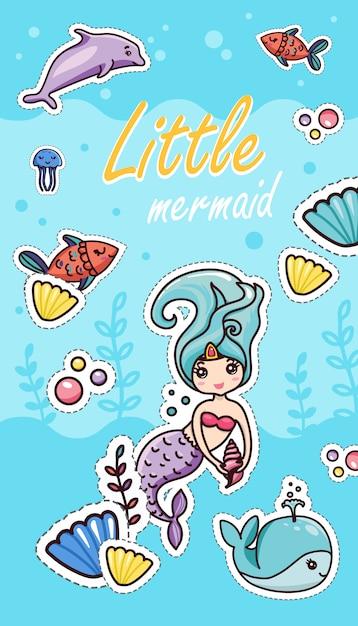 Little mermaid shells seaweeds fish whale dolphin bubbles Premium Vector