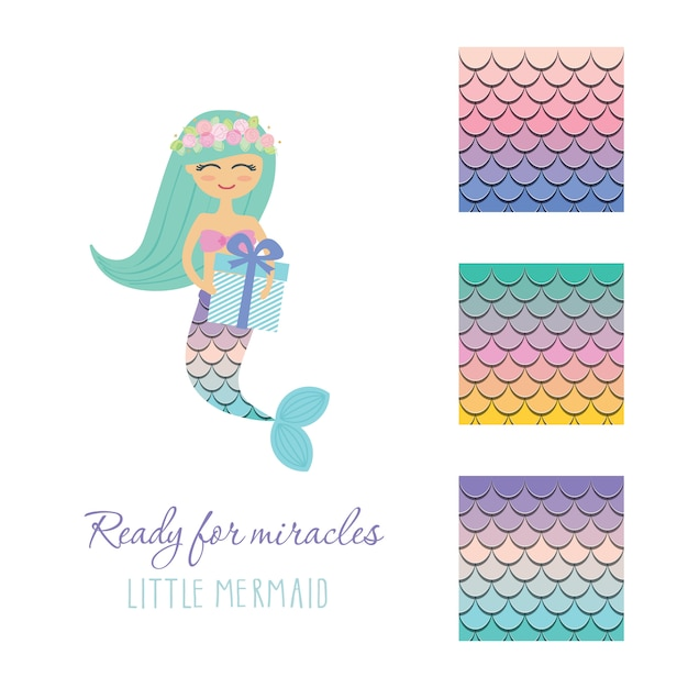 Little mermaid with birthday present box scale pattern set. Premium Vector
