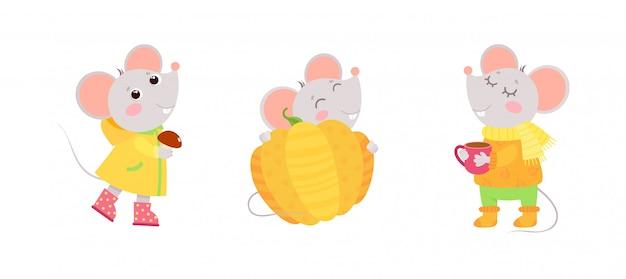 Мышки осенние персонажи. открытка осеннего праздника, дизайн поздравительной открытки. Бесплатные векторы