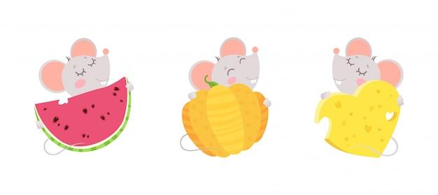 ネズミはチーズの心臓、スイカ、カボチャを抱擁します。目を閉じてかわいい漫画のキャラクターのデザイン。 無料ベクター
